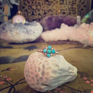 Antique 14k Gold Turquoise and seed pearl ring
